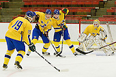 Rickard Rakell (Sweden - 19), Ludvig Rensfeldt (Sweden - 23), John Klingberg (Sweden - 6), Stefan Steen (Sweden - 1) - Sweden's Under-20 team defeated the Harvard University Crimson 2-1 on Monday, November 1, 2010, at Bright Hockey Center in Cambridge, Massachusetts.