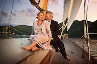 A couple enjoys a cruise on the waters of the US Virgin Islands where they renewed their vows.