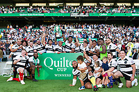 The Barbarians team celebrate with the Quilter Cup. Quilter Cup International match between England and the Barbarians on May 27, 2018 at Twickenham Stadium in London, England. Photo by: Patrick Khachfe / Onside Images