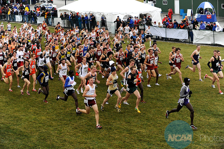 24 NOV 2008: The men's field runs through the start area during the 2008 NCAA Men's Division I Cross Country Championship hosted by Indiana State University held at the Wabash Valley Family Sports Center in Terre Haute, IN. Galen Rupp of the University of Oregon placed 1st with a time of 29:03.2 to win the men's national title, while the University of Oregon also won the men's team title. Brett Wilhelm/NCAA Photos