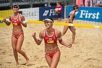 VADUZ, LIECHTENSTEIN, 10.08.2019- FIVB BEACH VOLLEYBALL WORLD TOUR: Suzuka Hashimoto (E) e Sayaka Mizoe (D) durante a partida das quartas de final a contar para o torneio FIVB Beach Volleyball World Tour Star1 na Beacharena, em Vaduz, Liechtenstein, nesse sabado 10. (Foto: Bruno de Carvalho / Brazil Photo Press)