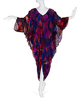BNPS.co.uk (01202 558833)<br /> Pic: Juliens/BNPS<br /> <br /> 'These Old Broads' silk kaftan - est £4000.<br /> <br /> A spectacular collection of over 1,000 items charting Elizabeth Taylor's life including her iconic outfits are up for sale for over £1million. ($1.25million)<br /> <br /> Dozens of designer gowns, fur coats and capes are being auctioned by the trustees of the estate of the late English actress.<br /> <br /> Also going under the hammer are the Hollywood icon's stylish wigs, scarves, shoes and jewellery.<br /> <br /> Items of her lavish furniture from her luxury homes across the world, right down to her personalised salt and pepper shaker, are included.