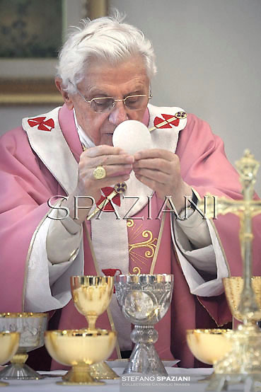 Pope Benedict XVI celebrates mass  during his visit to the San Patrizio al Colle Prenestino parish on the outskirts of Rome.December 16, 2012.