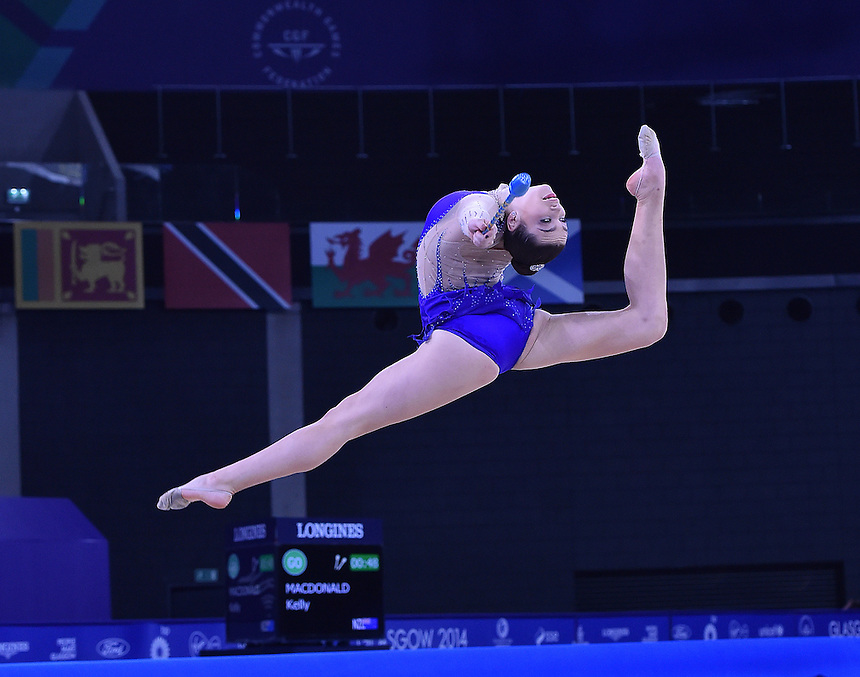 New Zealand's Kelly McDonald competes in rhythmic gymnastics team final and individual qualification subdivision 2<br /> <br /> Photographer Chris Vaughan/CameraSport<br /> <br /> 20th Commonwealth Games - Day 1 - Thursday 24th July 2014 - Rhythmic Gymnastics - The SSE Hydro - Glasgow - UK<br /> <br /> &copy; CameraSport - 43 Linden Ave. Countesthorpe. Leicester. England. LE8 5PG - Tel: +44 (0) 116 277 4147 - admin@camerasport.com - www.camerasport.com