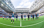 Stockholm 2014-04-06 Fotboll Allsvenskan Djurg&aring;rdens IF - Halmstads BK :  <br /> Djurg&aring;rdens Emil Bergstr&ouml;m med lagkamrater jublar med Djurg&aring;rdens supportrar efter matchen<br /> (Foto: Kenta J&ouml;nsson) Nyckelord:  Djurg&aring;rden DIF Tele2 Arena Halmstad HBK jubel gl&auml;dje lycka glad happy