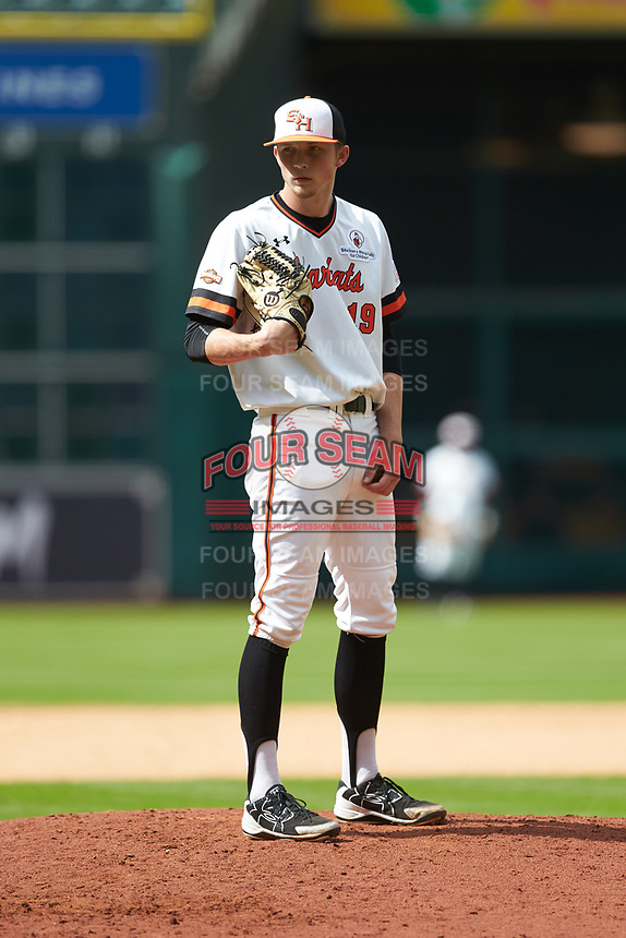 Sam Houston State Bearkats relief pitcher Kyle Backhus (19) looks to his catcher for the sign against the Vanderbilt Commodores in game one of the 2018 Shriners Hospitals for Children College Classic at Minute Maid Park on March 2, 2018 in Houston, Texas. The Bearkats walked-off the Commodores 7-6 in 10 innings.   (Brian Westerholt/Four Seam Images)