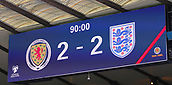 June 10th 2017, Hampden park, Glasgow, Scotland; World Cup 2018 Qualifying football, Scotland versus England; The scoreboard at the end of the match