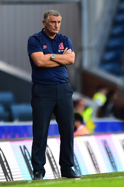 Blackburn Rovers manager Tony Mowbray looks on<br /> <br /> Photographer Richard Martin-Roberts/CameraSport<br /> <br /> The Carabao Cup First Round - Tuesday 13th August 2019 - Blackburn Rovers v Oldham Athletic - Ewood Park - Blackburn<br />  <br /> World Copyright © 2019 CameraSport. All rights reserved. 43 Linden Ave. Countesthorpe. Leicester. England. LE8 5PG - Tel: +44 (0) 116 277 4147 - admin@camerasport.com - www.camerasport.com