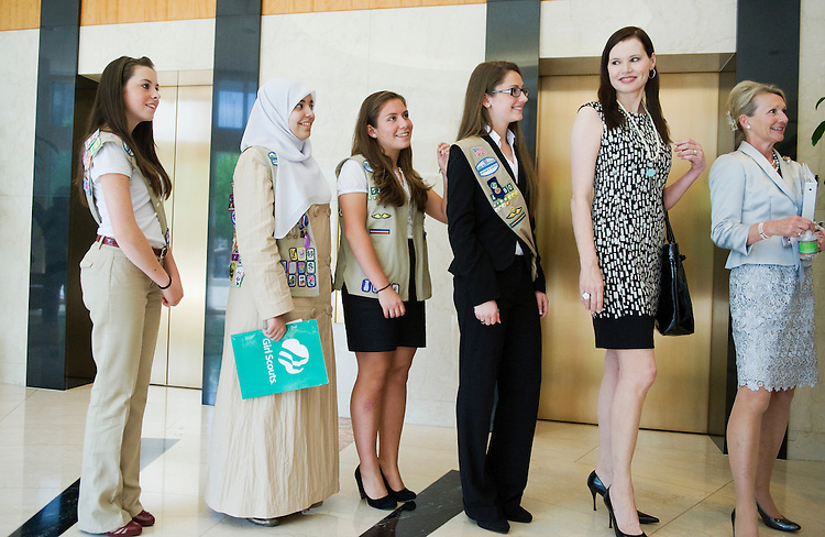 "UNITED STATES - APRIL 27:  From left Girl Scouts Maggie Burgos, Abrar Omeish, Katie McGrath, and Carloine Tyding, actor Geena Davis, and former FCC Commissioner Debi Tate, line up for an event to announce the creation of ""Healthy MEdia: Commission for Positive Images of Women and Girls,"" held a the National Association of Broadcasters offices.  The commission will help promote healthy images of women and girls and gender equality in the media. (Photo By Tom Williams/Roll Call)"