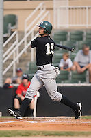 Sean McCraw (15) of the Savannah Sand Gnats follows through on his swing at Fieldcrest Cannon Stadium in Kannapolis, NC, Sunday July 20, 2008. (Photo by Brian Westerholt / Four Seam Images)