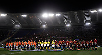 Football Soccer: UEFA Champions League  Round of 16 Second Leg, AS Roma vs FC Shakhtar Donetsk, Stadio Olimpico Rome, Italy, March 13, 2018. <br /> Roma's and Shakhtar Donetsk's teams line up prior to the start of the Uefa Champions League football soccer match between AS Roma and FC Shakhtar Donetsk at at Rome's Olympic stadium, March 13, 2018.<br /> UPDATE IMAGES PRESS/Isabella Bonotto