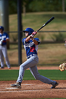 Los Angeles Dodgers Logan Landon (12) hits a home run during an instructional league game against the Cincinnati Reds on October 20, 2015 at Cameblack Ranch in Glendale, Arizona.  (Mike Janes/Four Seam Images)