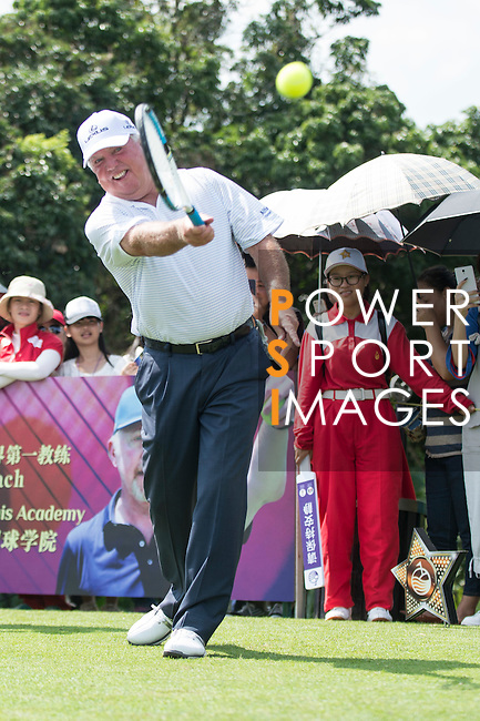 Mark O'Meara plays tennis at the 10th hole during the World Celebrity Pro-Am 2016 Mission Hills China Golf Tournament on 22 October 2016, in Haikou, China. Photo by Marcio Machado / Power Sport Images