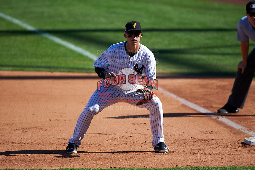 Surprise Saguaros first baseman Tyler Austin (20) during an Arizona Fall League game against the Glendale Desert Dogs on October 23, 2015 at Salt River Fields at Talking Stick in Scottsdale, Arizona.  Glendale defeated Surprise 9-6.  (Mike Janes/Four Seam Images)