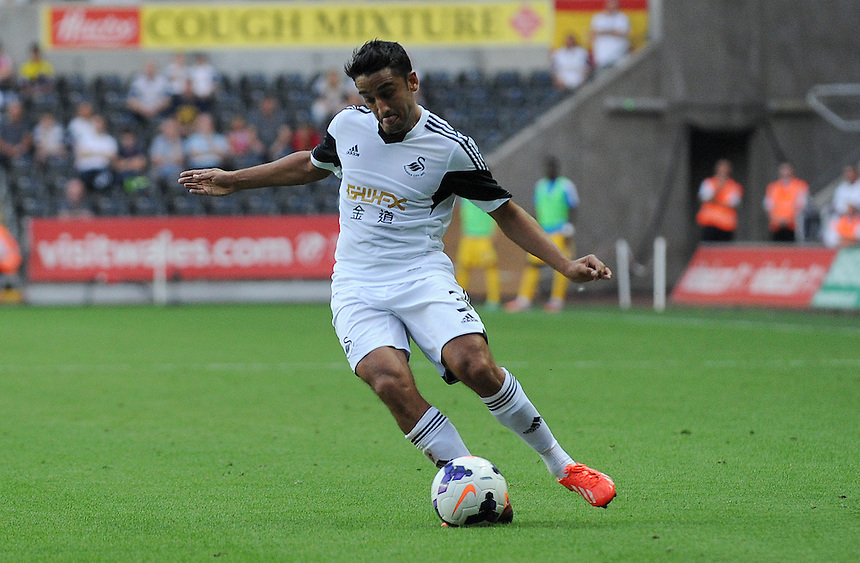 Swansea City's Neil Taylor in action during todays match  <br /> <br /> (Photo by Ian Cook/CameraSport)<br /> <br /> Football - UEFA Europa League Qualifying Play-off First leg - Swansea City v Petrolul Ploiesti - Thursday 22nd August 2013 - The Liberty Stadium - Swansea<br /> <br /> &copy; CameraSport - 43 Linden Ave. Countesthorpe. Leicester. England. LE8 5PG - Tel: +44 (0) 116 277 4147 - admin@camerasport.com - www.camerasport.com