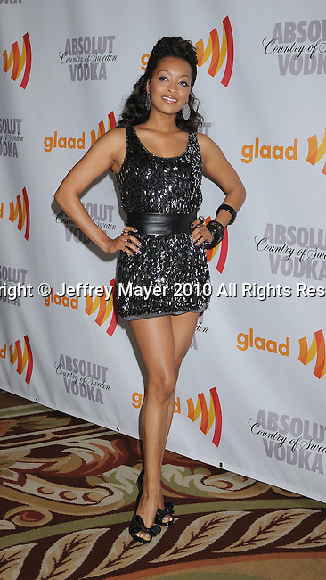 CENTURY CITY, CA. - April 17: Jennia Fredrique arrives at the 21st Annual GLAAD Media Awards at the Hyatt Regency Century Plaza Hotel on April 17, 2010 in Los Angeles, California.