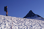 Climber approaching summit 'pyramid' of Mount Shuksan