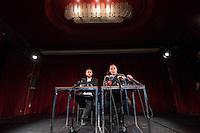 Pressekonferenz anlaesslich der Praesentation von DiEM (Democracy in Europe Movement) am 9. Februar 2016 im Roten Salon der Volksbuehne am Rosa-Luxemburg-Platz. Der ehemalige griechsche Finanzminister und Yanis Varoufakis (rechts) stellte vor 70 bis 80 Journalisten die Ideen der Organisation vor.<br /> Links im Bild: Srecko Horvat, kroatischer Philosoph.<br /> 9.2.2016, Berlin<br /> Copyright: Christian-Ditsch.de<br /> [Inhaltsveraendernde Manipulation des Fotos nur nach ausdruecklicher Genehmigung des Fotografen. Vereinbarungen ueber Abtretung von Persoenlichkeitsrechten/Model Release der abgebildeten Person/Personen liegen nicht vor. NO MODEL RELEASE! Nur fuer Redaktionelle Zwecke. Don't publish without copyright Christian-Ditsch.de, Veroeffentlichung nur mit Fotografennennung, sowie gegen Honorar, MwSt. und Beleg. Konto: I N G - D i B a, IBAN DE58500105175400192269, BIC INGDDEFFXXX, Kontakt: post@christian-ditsch.de<br /> Bei der Bearbeitung der Dateiinformationen darf die Urheberkennzeichnung in den EXIF- und  IPTC-Daten nicht entfernt werden, diese sind in digitalen Medien nach §95c UrhG rechtlich geschuetzt. Der Urhebervermerk wird gemaess §13 UrhG verlangt.]