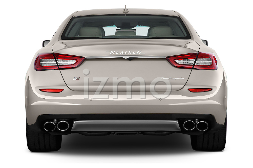 Straight rear view of a 2014 Maserati Quattroporte SQ4 4 Door Sedan Rear View  stock images