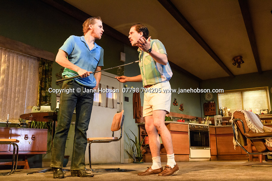 "The first UK production, since the death of playwright Sam Shepard's play ""True West"", opens at the Vaudeville Theatre, directed by Matthew Dunster. Kit Harington and Johnny Flynn star, as brothers Austin and Lee, with Madeleine Potter and Donald Sage Mackay completing the cast. Picture shows: Johnny Flynn (Lee) and Kit Harington (Austin)."