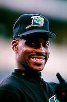 Fred McGriff of the Tampa Bay Devil Rays plays in a baseball game at Edison International Field during the 1998 season in Anaheim, California. (Larry Goren/Four Seam Images)