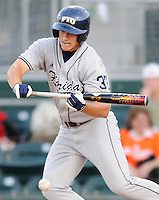 23 April 2008:  Florida International first baseman Tyler Townsend (37) bunts early in the FIU 6-3 victory over Miami at Mark Light Field in Coral Gables, Florida.