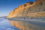 Coastal cliffs at sunset,+Torrey Pines State Beach, San Diego County, CALIFORNIA