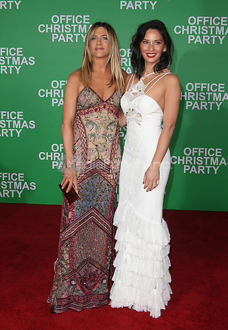 """Westwood, CA - DECEMBER 07: Jennifer Aniston, Olivia Munn, At Premiere Of Paramount Pictures' """"Office Christmas Party"""" At Regency Village Theatre, California on December 07, 2016. Credit: Faye Sadou/MediaPunch"""