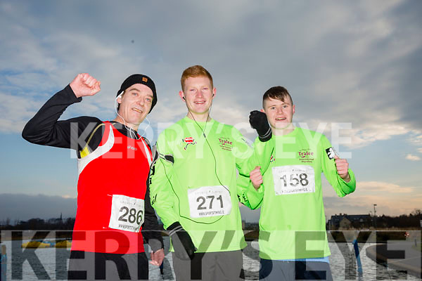 Brendan McNeice, Shane McCarthy and Simon Hallissey,  participants who took part in the Kerry's Eye Valentines Weekend 10 mile road race on Sunday.