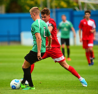 Lincoln City's Jack McMenemy vies for possession with Gainsborough Trinity's Charlie Garter<br /> <br /> Photographer Andrew Vaughan/CameraSport<br /> <br /> Pre-Season Friendly - Gainsborough Trinity v Lincoln City - Saturday 15th July 2017 - The Gainsborough Martin &amp; Co Arena - Gainsborough<br /> <br /> World Copyright &copy; 2017 CameraSport. All rights reserved. 43 Linden Ave. Countesthorpe. Leicester. England. LE8 5PG - Tel: +44 (0) 116 277 4147 - admin@camerasport.com - www.camerasport.com