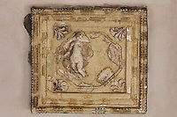 Section of stucco ceiling with figure and decorative border, from the imitation coffered ceiling of the Triclinium, a large room probably used for lunches and open to the garden, with walls painted on a white background with figures and plants and ornamental borders and floating figures of the seasons, in the Casa dell Efebo, or House of the Ephebus, Pompeii, Italy. This is a large, sumptuously decorated house probably owned by a rich family, and named after the statue of the Ephebus found here. Pompeii is a Roman town which was destroyed and buried under 4-6 m of volcanic ash in the eruption of Mount Vesuvius in 79 AD. Buildings and artefacts were preserved in the ash and have been excavated and restored. Pompeii is listed as a UNESCO World Heritage Site. Picture by Manuel Cohen