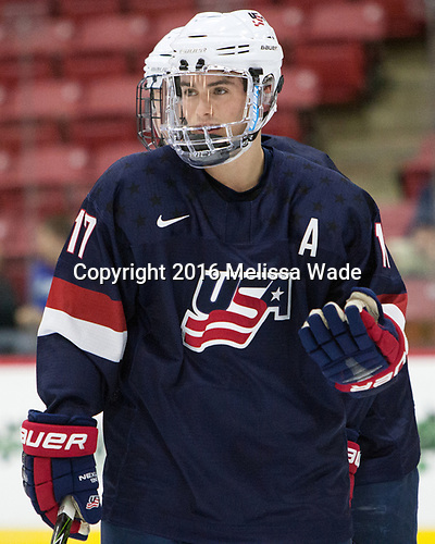 Evan Barratt (NTDP - 17) - The Harvard University Crimson defeated the US National Team Development Program's Under-18 team 5-2 on Saturday, October 8, 2016, at the Bright-Landry Hockey Center in Boston, Massachusetts.