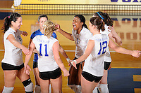 20 November 2008:  New Orleans outside hitter Lindsey Loyd (1), Dobrilla Kovacevic (8) and other teammates celebrate their 3-1 victory over UALR in the first round of the Sun Belt Conference Championship tournament at FIU Stadium in Miami, Florida.