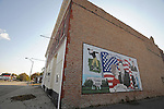 A mural celebrates the life and times of former U.S. President Ronald Reagan and his wife, Nancy Reagan, on the side of a building on the Main Street in Tampico, Illinois on October 26, 2008.  Ronald Reagan was born in the town of Tampico in a room above a saloon that was later converted to a bank.