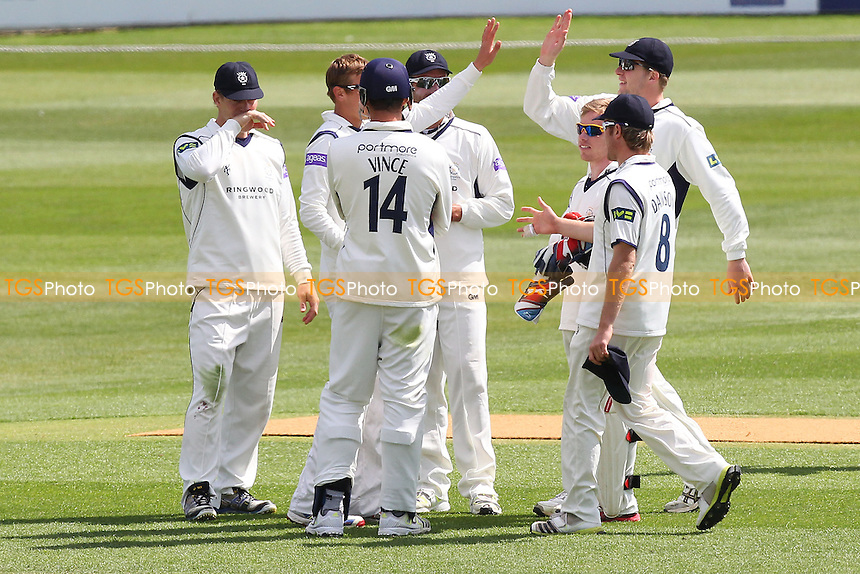 Hampshire players celebrate the wicket of James Foster - Essex CCC vs Hampshire CCC - LV County Championship Division Two Cricket at the Essex County Ground, Chelmsford - 30/04/13 - MANDATORY CREDIT: Gavin Ellis/TGSPHOTO - Self billing applies where appropriate - 0845 094 6026 - contact@tgsphoto.co.uk - NO UNPAID USE.