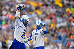 FOXBORO, MA - MAY 28: Ryan Maciejewski (25) of the Limestone Saints reacts after scoring a goal during the Division II Men's Lacrosse Championship held at Gillette Stadium on May 28, 2017 in Foxboro, Massachusetts. (Photo by Larry French/NCAA Photos via Getty Images)