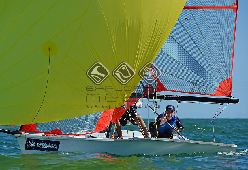 29ER / Owen LONG &amp; Angus WILLIAMS (AUS)<br /> 2013 ISAF Sailing World Cup - Melbourne<br /> Sail Melbourne - The Asia Pacific Regatta<br /> Sandringham Yacht Club, Victoria<br /> December 1st - 8th 2013<br /> &copy; Sport the library / Jeff Crow