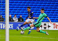 4th January 2020; Cardiff City Stadium, Cardiff, Glamorgan, Wales; English FA Cup Football, Cardiff City versus Carlisle; Josh Murphy of Cardiff City cuts inside Jon Mellish of Carlisle United  - Strictly Editorial Use Only. No use with unauthorized audio, video, data, fixture lists, club/league logos or 'live' services. Online in-match use limited to 120 images, no video emulation. No use in betting, games or single club/league/player publications