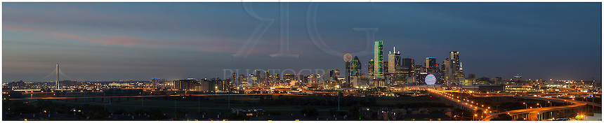From southwest Dallas, this Dallas Skyline Panorama features nearly all the iconic buildings of Dallas, including Reunion Tower, the Bank of America, the colorful Omni Hotel, Fountain Place, the CoAmerica Building and to the far west, the newly constructed Margaret Hunt Hill Bridge that spans the Trinity River. This Dallas Skyline image consists of many images merged together to create the panorama of Downtown Dallas.
