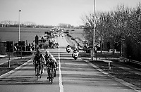 breakaway group about to get caught in the infamous 'Moeren' (where the wind always forms echelons in the peloton) just 7km before the finish<br /> <br /> Driedaagse Brugge-De Panne 2018<br /> Bruges - De Panne (202km)