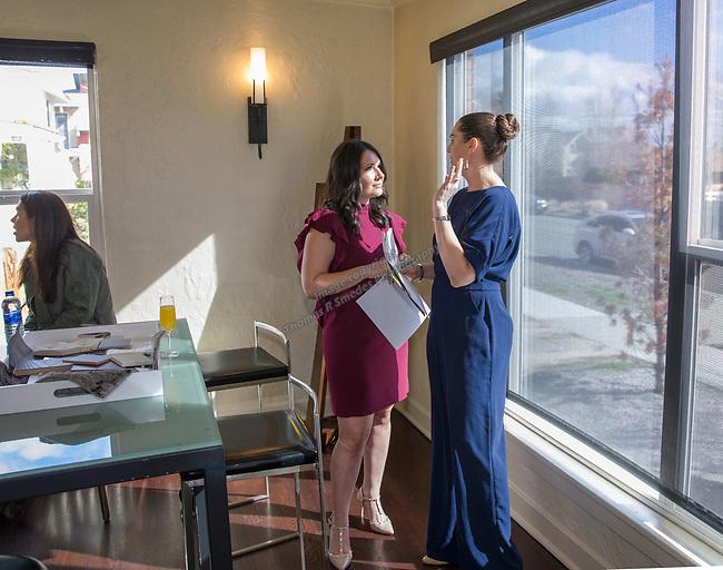 Designer Olivia Osborne, left, talks with Reno Magazine editor Laura Longero during Reno Magazine's Home Decor Workshop at Aspen Leaf Interiors Studio in Reno on Saturday, March 24, 2018.