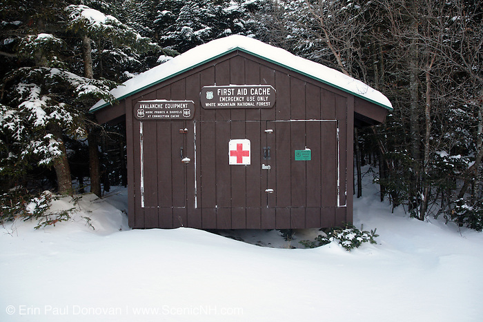 First Aid Cache near the Ranger Station in Tuckerman Ravine during the early  winter months in the scenic landscape of the White Mountains, New Hampshire USA