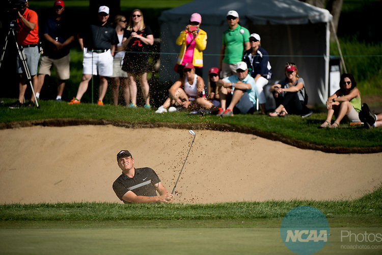 SUGAR GROVE, IL - MAY 29: Mason Overstreet of the University of Arkansas chips out of the sand during the Division I Men's Golf Individual Championship held at Rich Harvest Farms on May 29, 2017 in Sugar Grove, Illinois. Overstreet placed second with a -7 score. (Photo by Jamie Schwaberow/NCAA Photos via Getty Images)