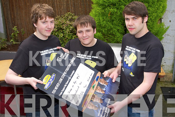 SHAVE OR DYE: Launching the Shave or Dye night in aid of the Irish Cancer Society to held at the Greyhound bar, Tralee on Friday 20th of July at 9pm l-r: Johnny O'Riordan, Ban Hussey and Damian Sharpe...