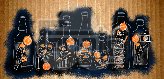Illustrative image of businessmen working in bottles representing time management