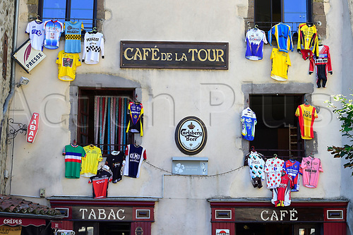 July 17th 2017, Le Puy en Velay, France; The CafÈ de la Tour with cyclist jerseys during rest day 2 of the 104th edition of the 2017 Tour de France cycling race in Le Puy-En-Velay