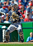 24 September 2012: Milwaukee Brewers catcher Jonathan Lucroy in action against the Washington Nationals at Nationals Park in Washington, DC. The Brewers fell 12-2 to the Nationals in the final game of their 4-game series, splitting the series at two. Mandatory Credit: Ed Wolfstein Photo