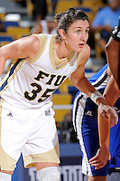28 November 2010:  FIU center Maja Krajacic (35) prepare for a rebound during a foul shot in the first half as the FIU Golden Panthers defeated the Indiana State Sycamores, 68-47, to win the 16th annual FIU Thanksgiving Classic at the U.S. Century Bank Arena in Miami, Florida.
