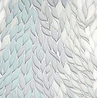 Cascade, a stone waterjet mosaic, shown in Tropical White, Infinity, Island Fog glass, and polished Snow White stone, is part of the Altimetry® Collection for New Ravenna.