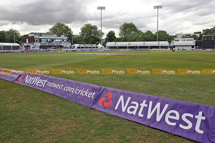 General view of the ground ahead of the start of play, looking towards the pavilion and Tom Pearce stand